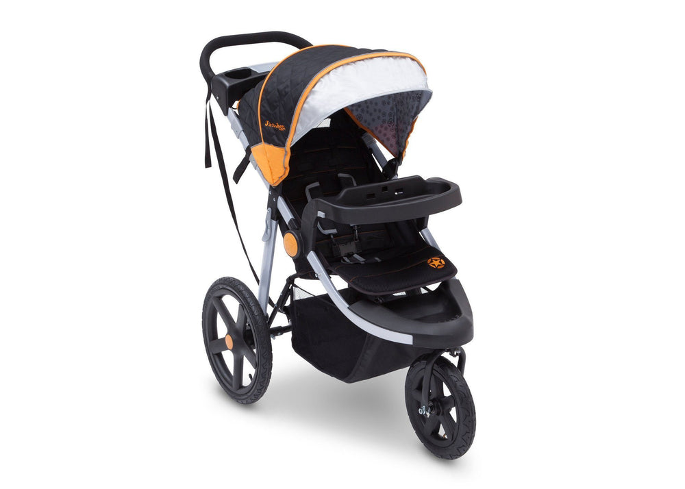 Delta Children Galaxy (850) J is for Jeep Brand Adventure All Terrain Jogger Stroller Right Side View, with Canopy, Child Tray Tracks and Sun Visor c2c