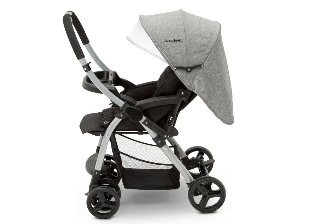 J is for Jeep® Grey Tweed (2001) Unlimited Reversible Handle Stroller (12198), Full Right Side View, a5a