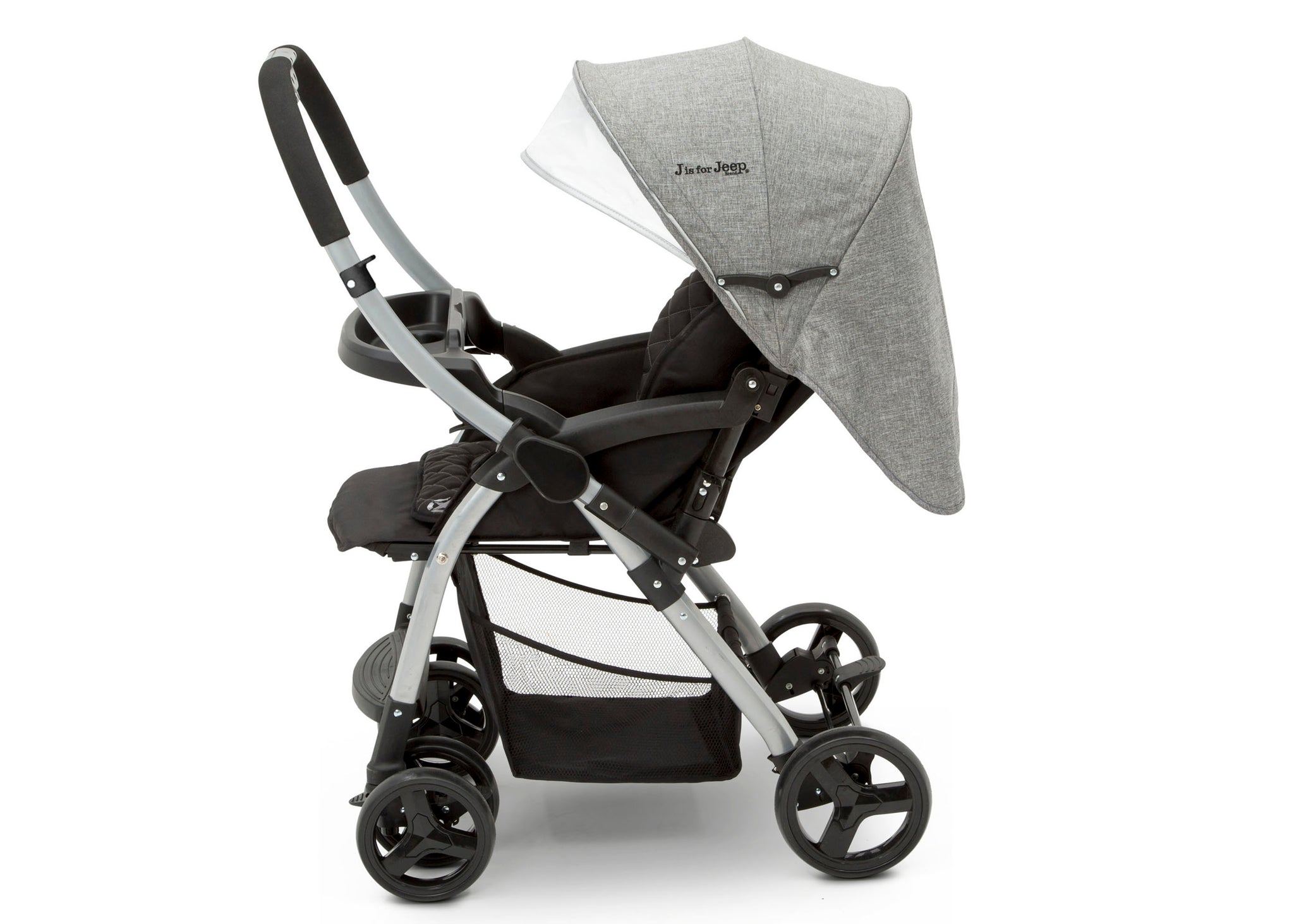 Jeep Unlimited Reversible Handle Stroller by Delta Children, Grey Tweed (2012), Make your child comfortable with the multi-position reclining seat