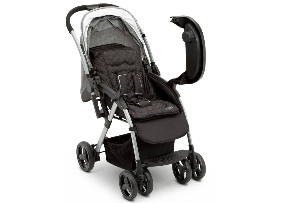 Delta Children Dark Tweed (2092) Pearl II Reversible Handle Stroller (12199), Right Side View Opened, a3a