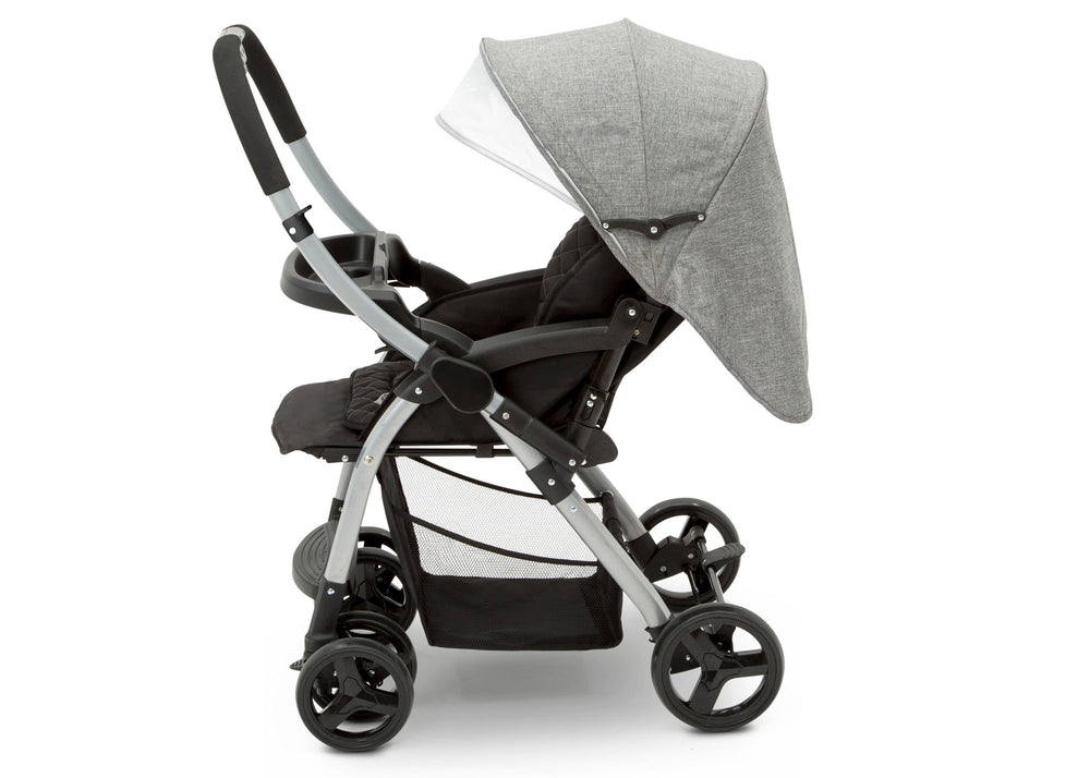 Delta Children Dark Tweed (2092) Pearl II Reversible Handle Stroller (12199), Full Right Side View, a4a