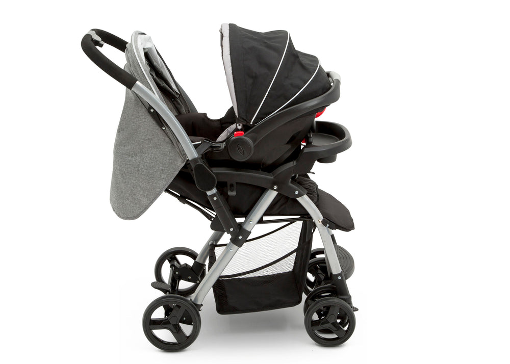 Delta Children Dark Tweed (2092) Pearl II Reversible Handle Stroller (12199), Full Right Side View with Car Seat, a5a