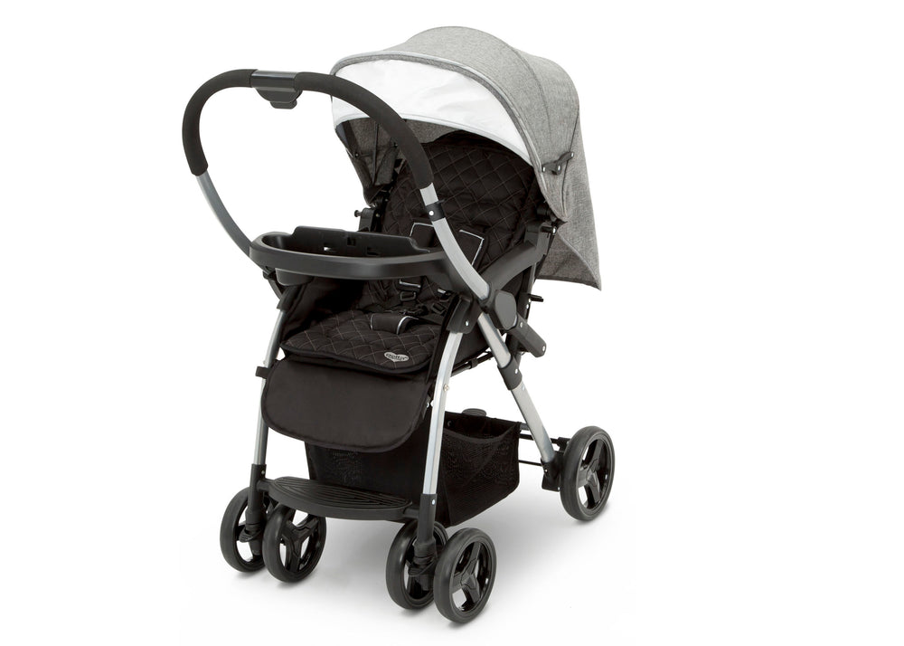 Delta Children Dark Tweed (2092) Pearl II Reversible Handle Stroller (12199), Left Side View, a6a