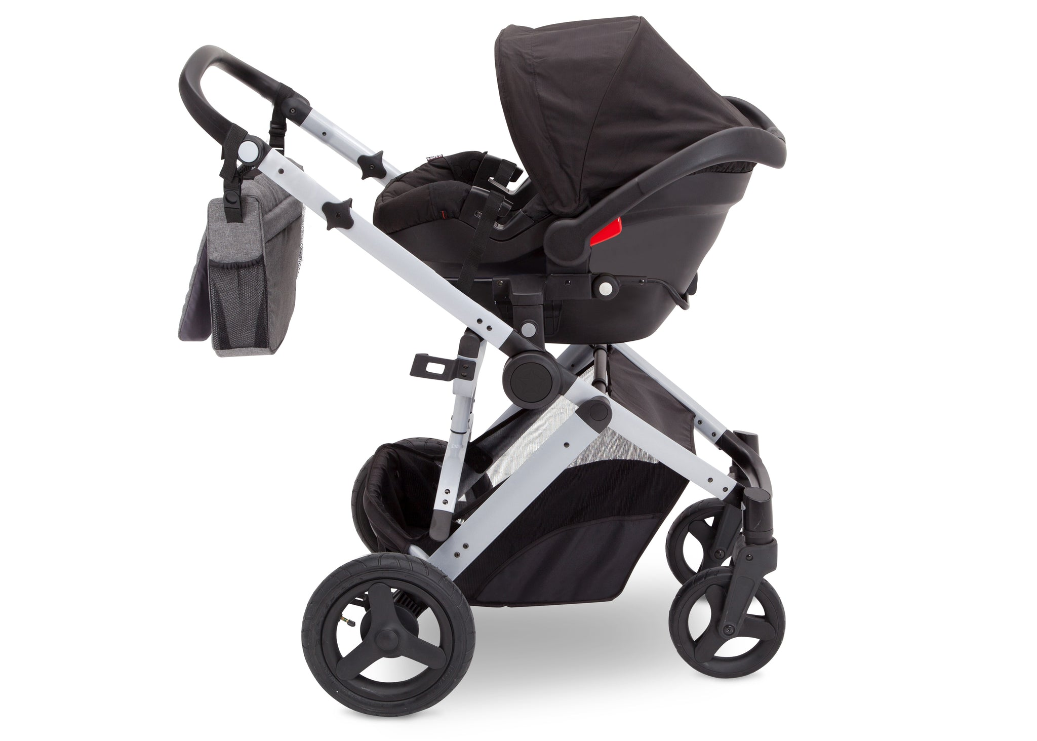 Jeep Brand Sport Utility All-Terrain Stroller by Delta Children, Grey on Silver (2400)), with car seat adapter