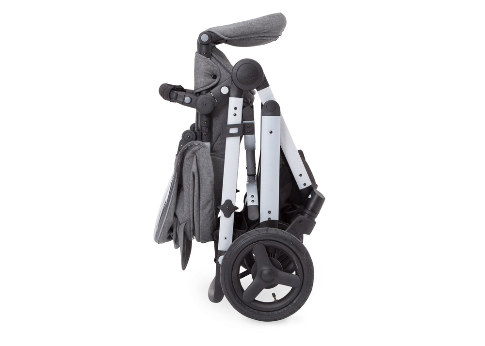 Delta Children Grey on Silver (2400) Jeep Brand Sport Utility All-Terrain Stroller, Folded View