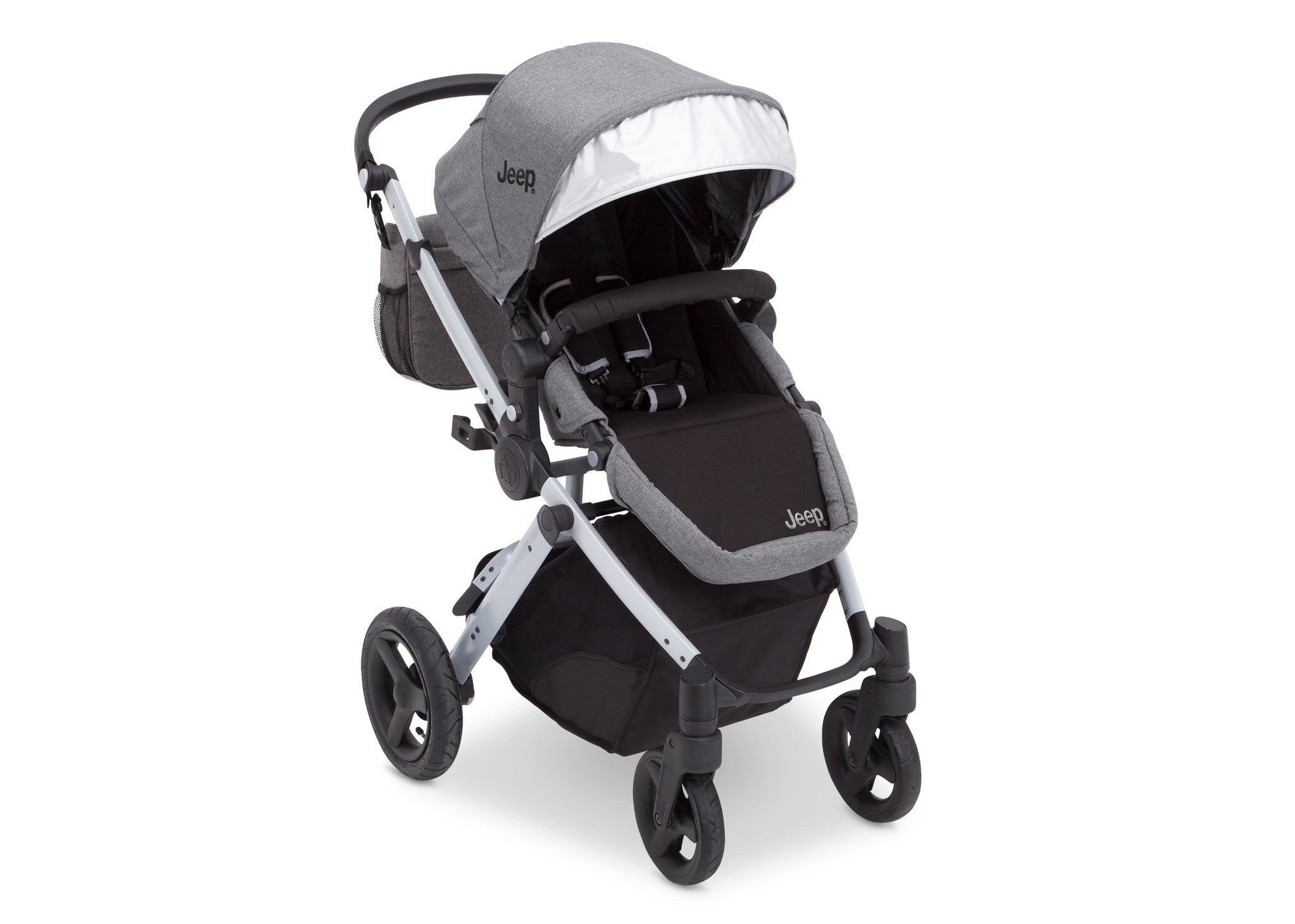Jeep Brand Sport Utility All-Terrain Stroller by Delta Children, Grey on Silver (2400), with extendable European-style canopy