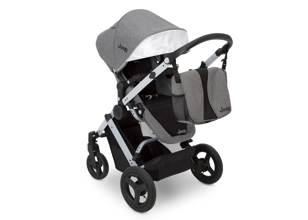 Delta Children Grey on Silver (2400) Jeep Brand Sport Utility All-Terrain Stroller, Top Carriage View