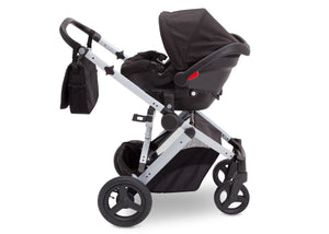 Jeep Brand Sport Utility All-Terrain Stroller by Delta Children, Black on Silver (2401), with car seat adapter