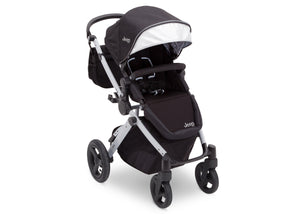 Jeep Brand Sport Utility All-Terrain Stroller by Delta Children, Black on Silver (2401), with extendable European-style canopy