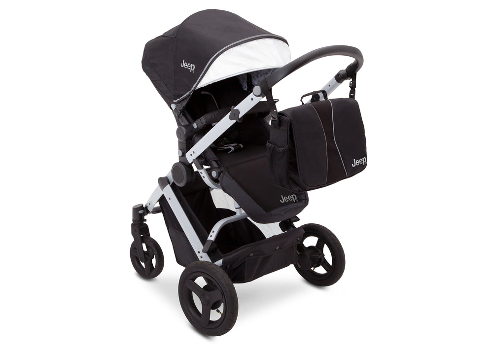 Delta Children Black on Silver (2401) Jeep Brand Sport Utility All-Terrain Stoller, Top Carriage View