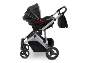 Jeep Brand Sport Utility All-Terrain Stroller by Delta Children, Aqua on Silver (2403), with car seat adapter