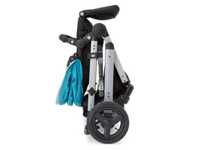 Jeep Brand Sport Utility All-Terrain Stroller by Delta Children, Aqua on Silver (2403), with quick and ultra compact 'flat fold' design