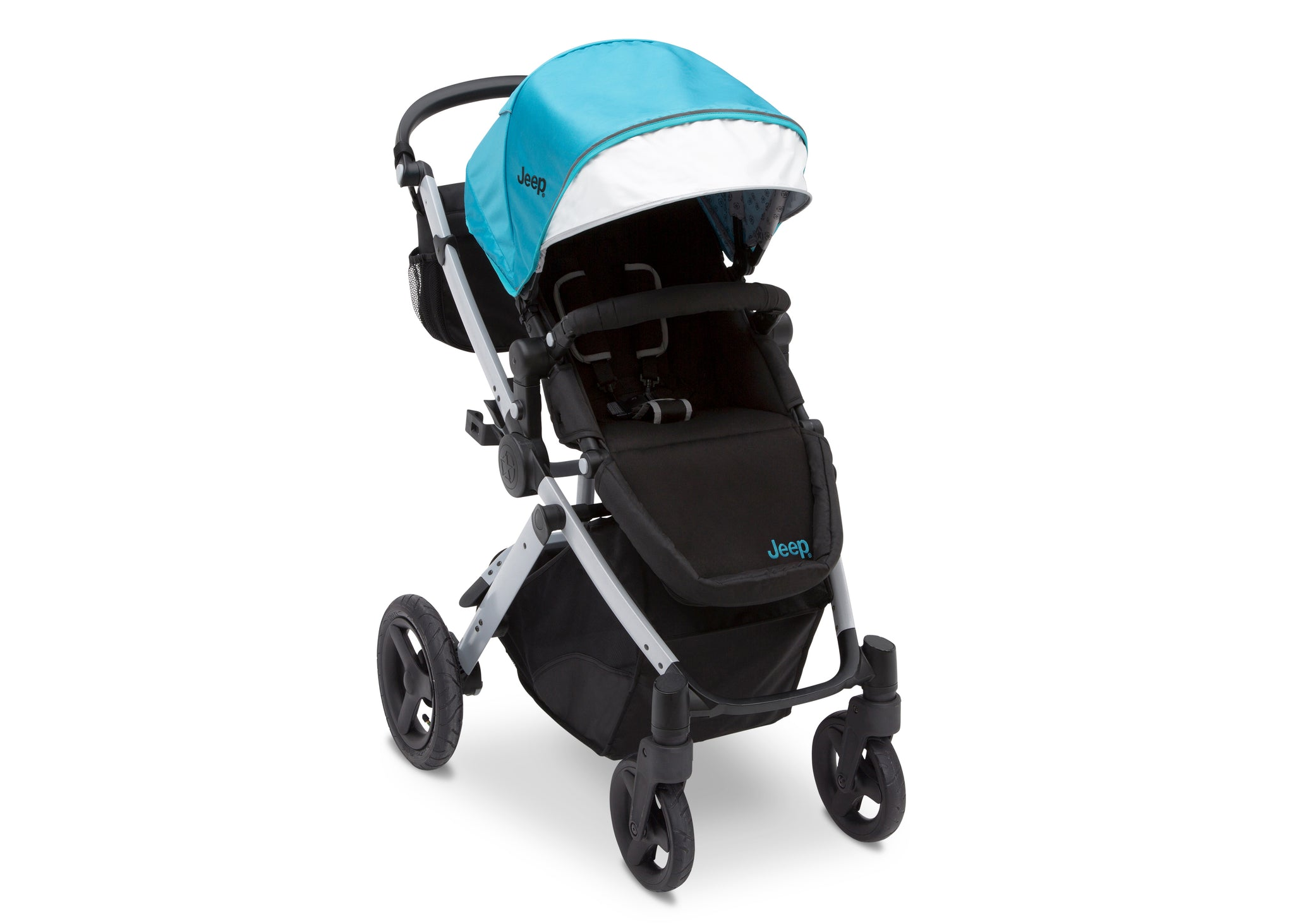 Jeep Brand Sport Utility All-Terrain Stroller by Delta Children, Aqua on Silver (2403), with extendable European-style canopy