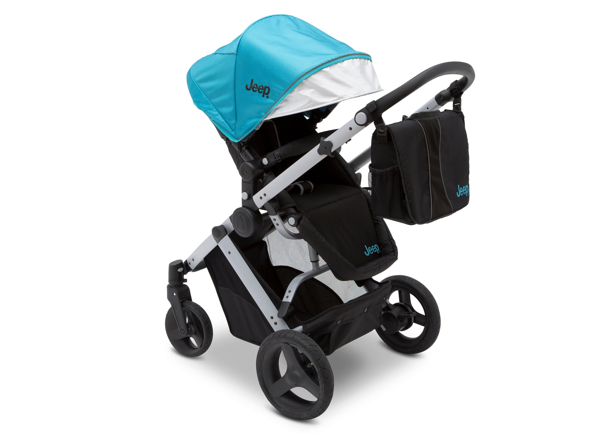 Jeep Brand Sport Utility All-Terrain Stroller by Delta Children, Aqua on Silver (2403), with detachable parent organizer