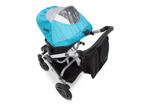 Jeep Brand Sport Utility All-Terrain Stroller by Delta Children, Aqua on Silver (2403), with extendable European-style canopy with peek-a-boo window