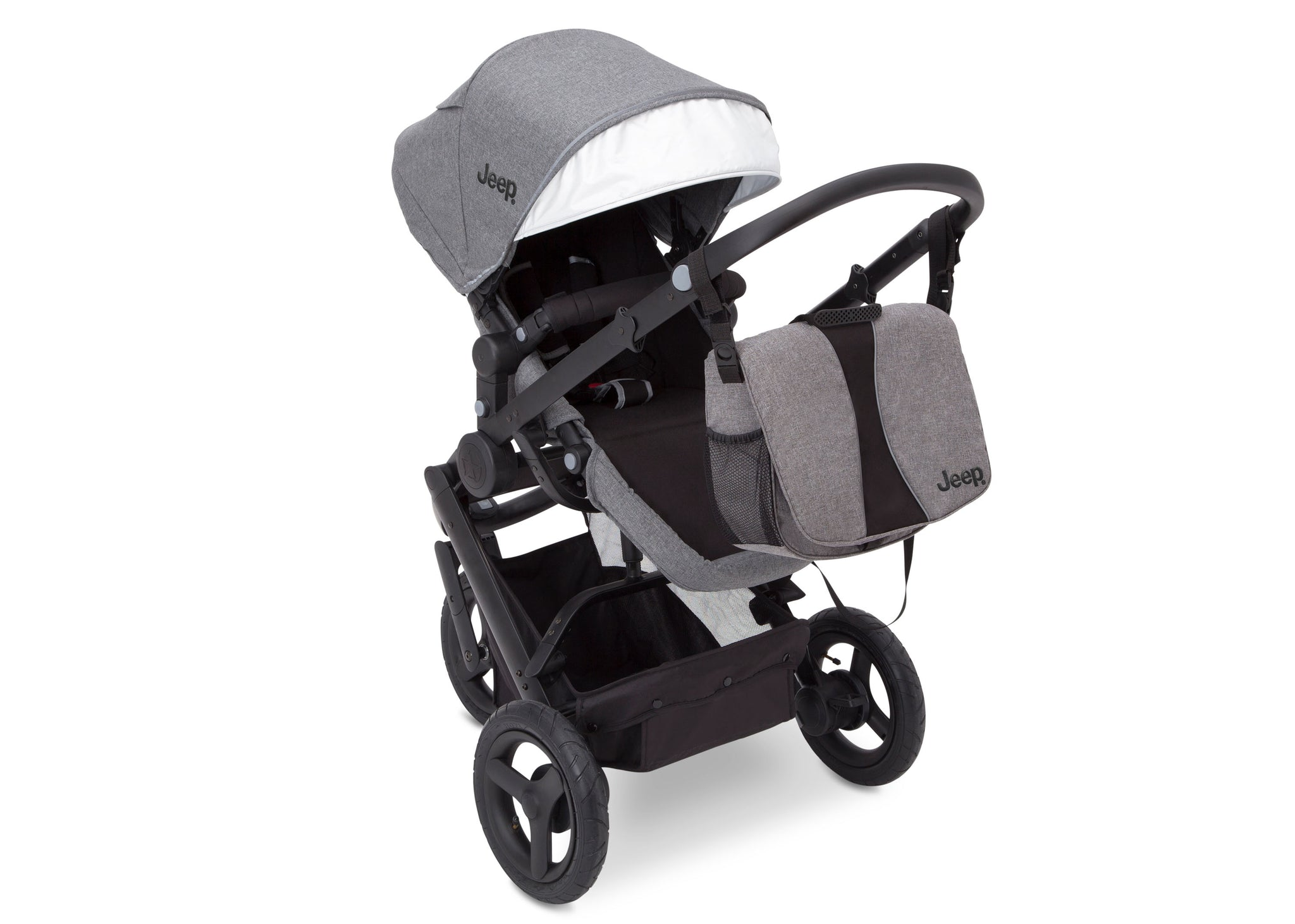 Jeep® Sport Utility All-Terrain Jogger Grey on Black (2500), Front View with Canopy