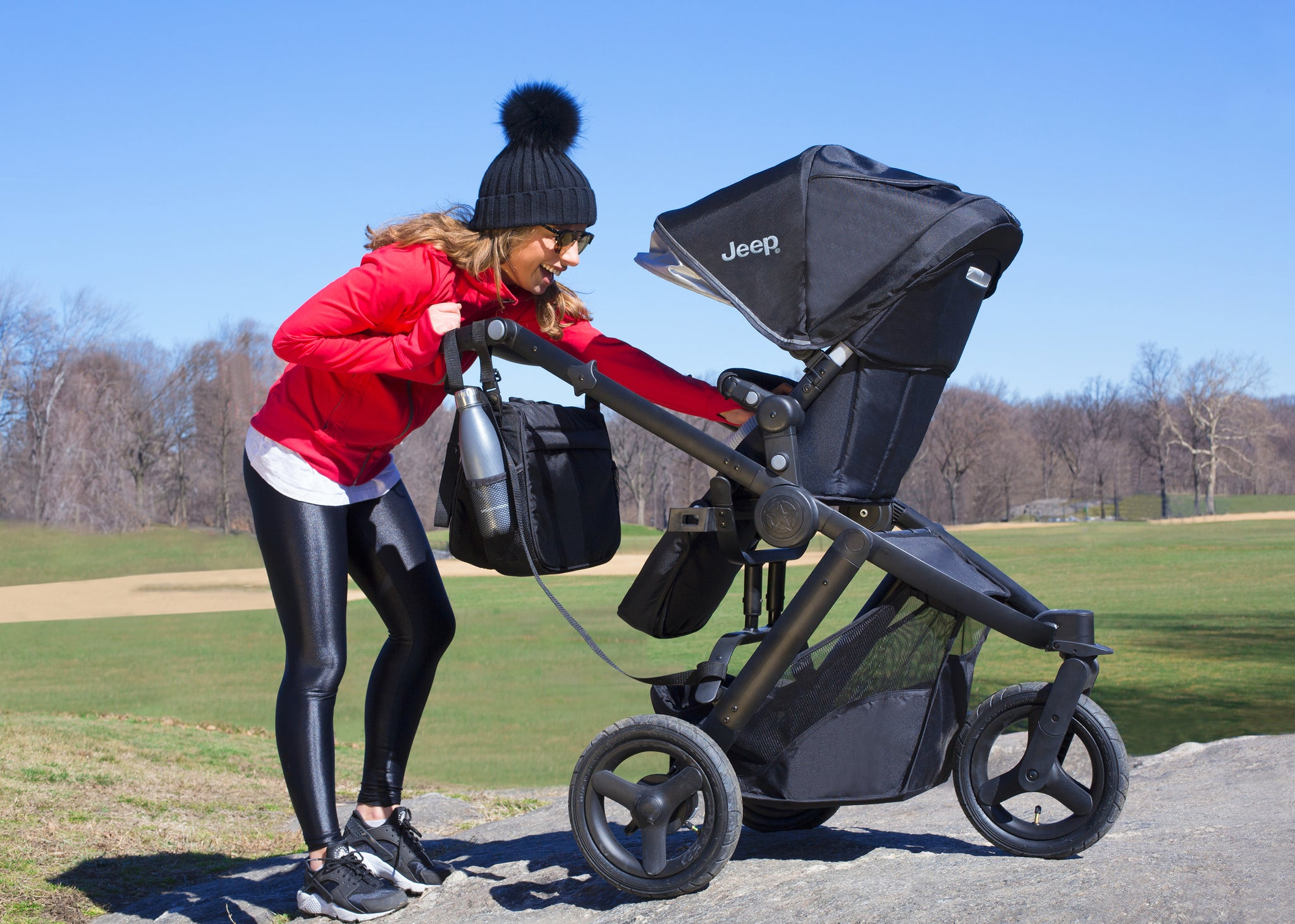Delta Children Black on Black (2501) Jeep Brand Sport Utility All-Terrain Jogger, Hangtag View