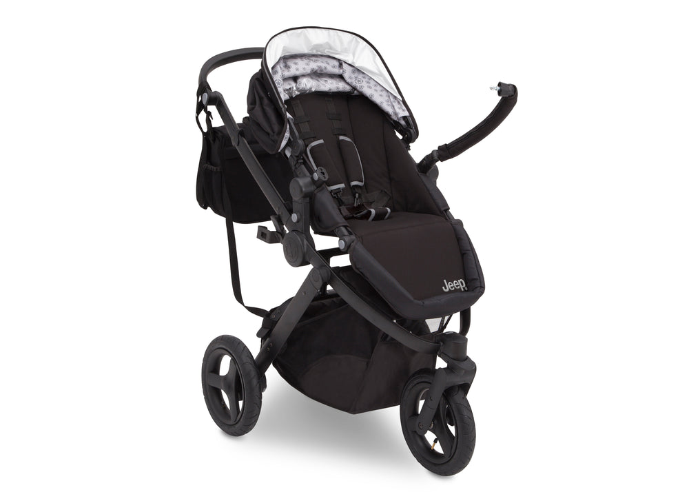 Delta Children Black on Black (2501) Jeep Brand Sport Utility All-Terrain Jogger, Open Right Silo View