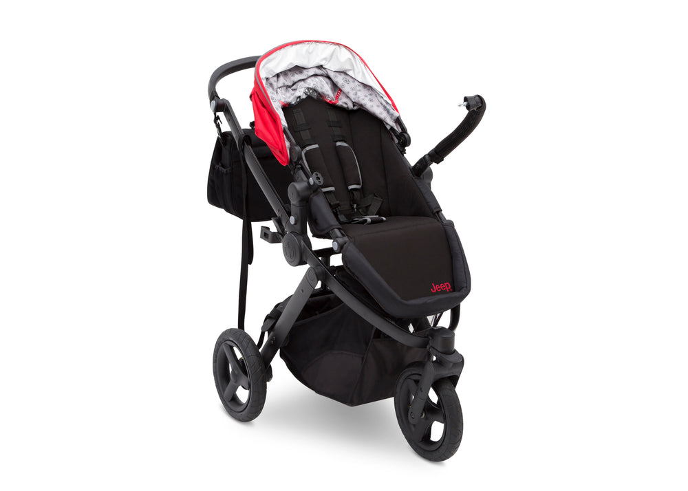 Delta Children Red on Black (2502) Jeep Brand Sport Utility All-Terrain Jogger, Open Right Silo View
