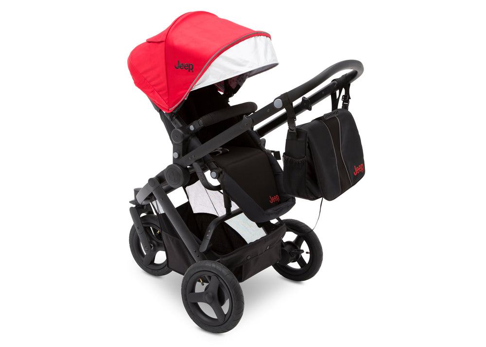 Delta Children Red on Black (2502) Jeep Brand Sport Utility All-Terrain Jogger, Top Carriage View
