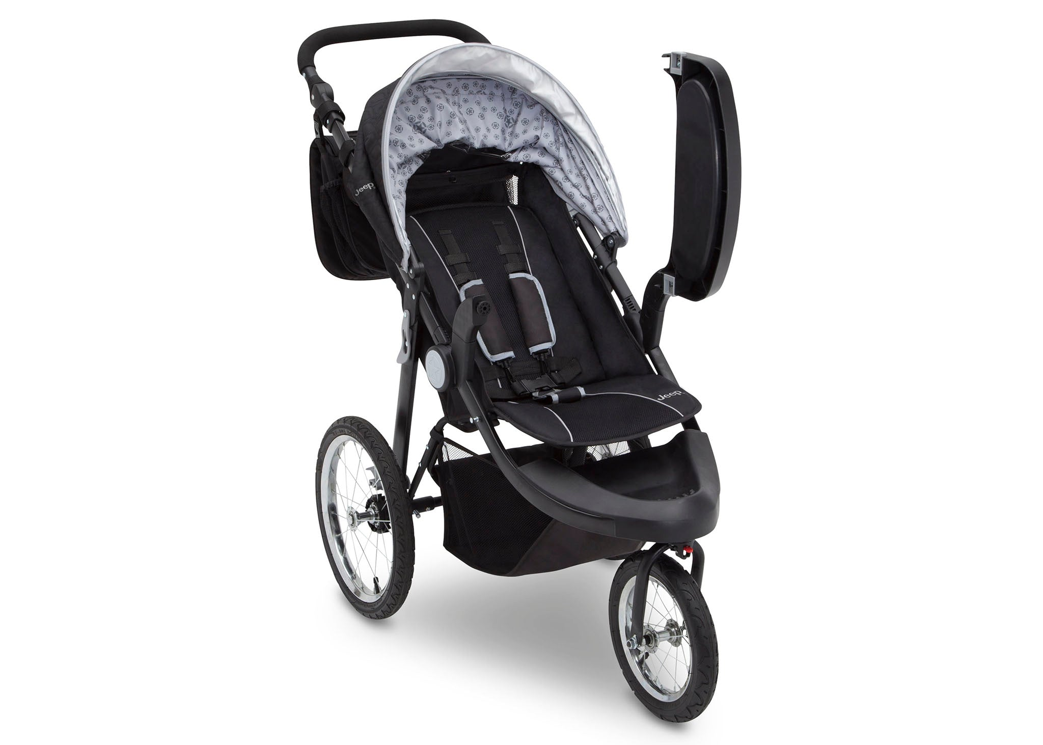 Delta Children J is for Jeep Brand Cross-Country Sport Plus Jogger, Charcoal Galaxy (2271) with Child Tray Open, Right Side View, a2a