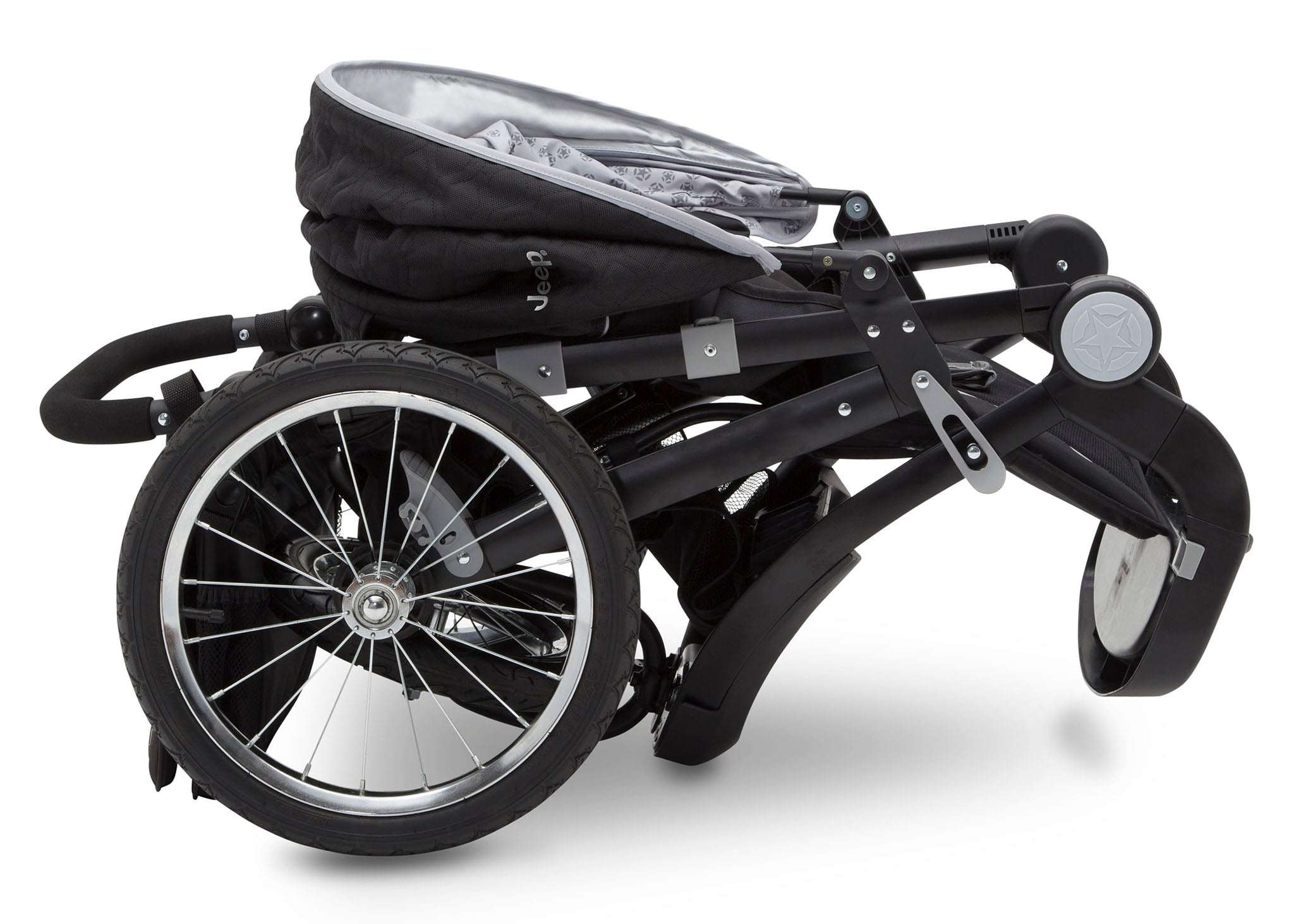 Delta Children J is for Jeep Brand Cross-Country Sport Plus Jogger, Charcoal Galaxy (2271) Folded, a7a