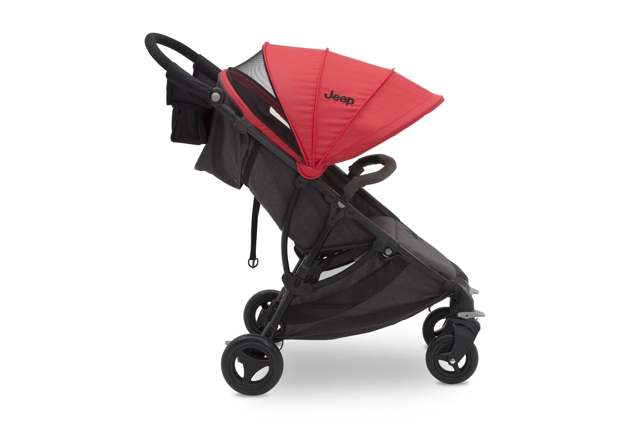 Jeep Gemini Stroller Red Stripe (2243), Full Right Side with Canopy