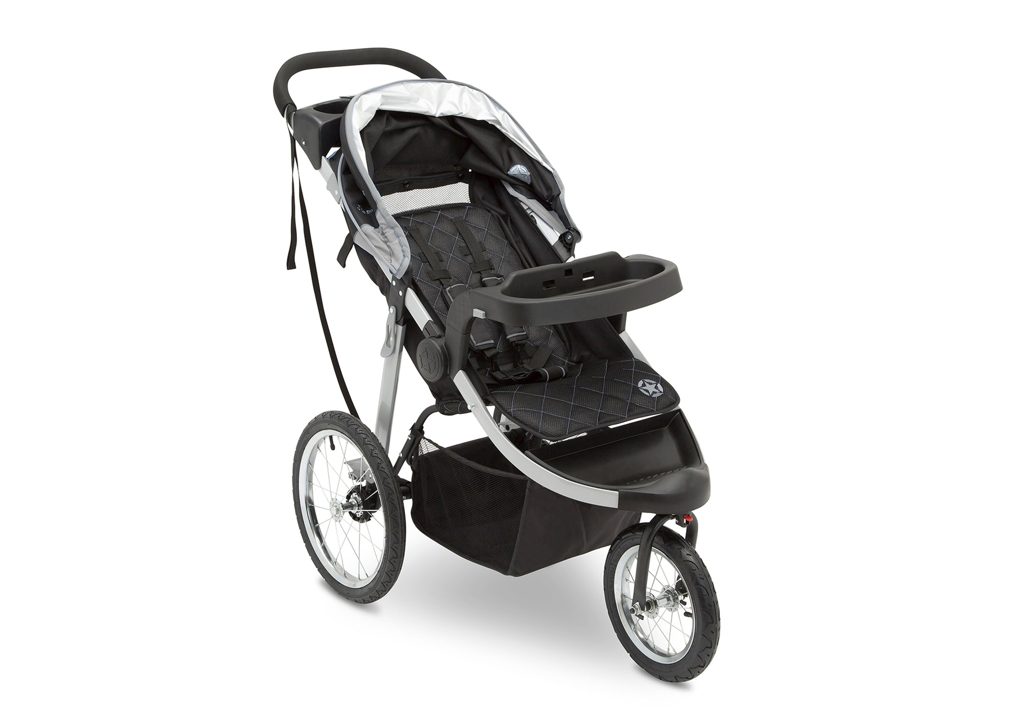 Jeep Unlimited Range Jogger by Delta Children, Trek Grey Tonal (0261) with multi-position reclining padded seat