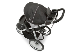 Jeep Unlimited Range Jogger by Delta Children, Trek Grey Tonal (0261) with cup holders and smart phone storage