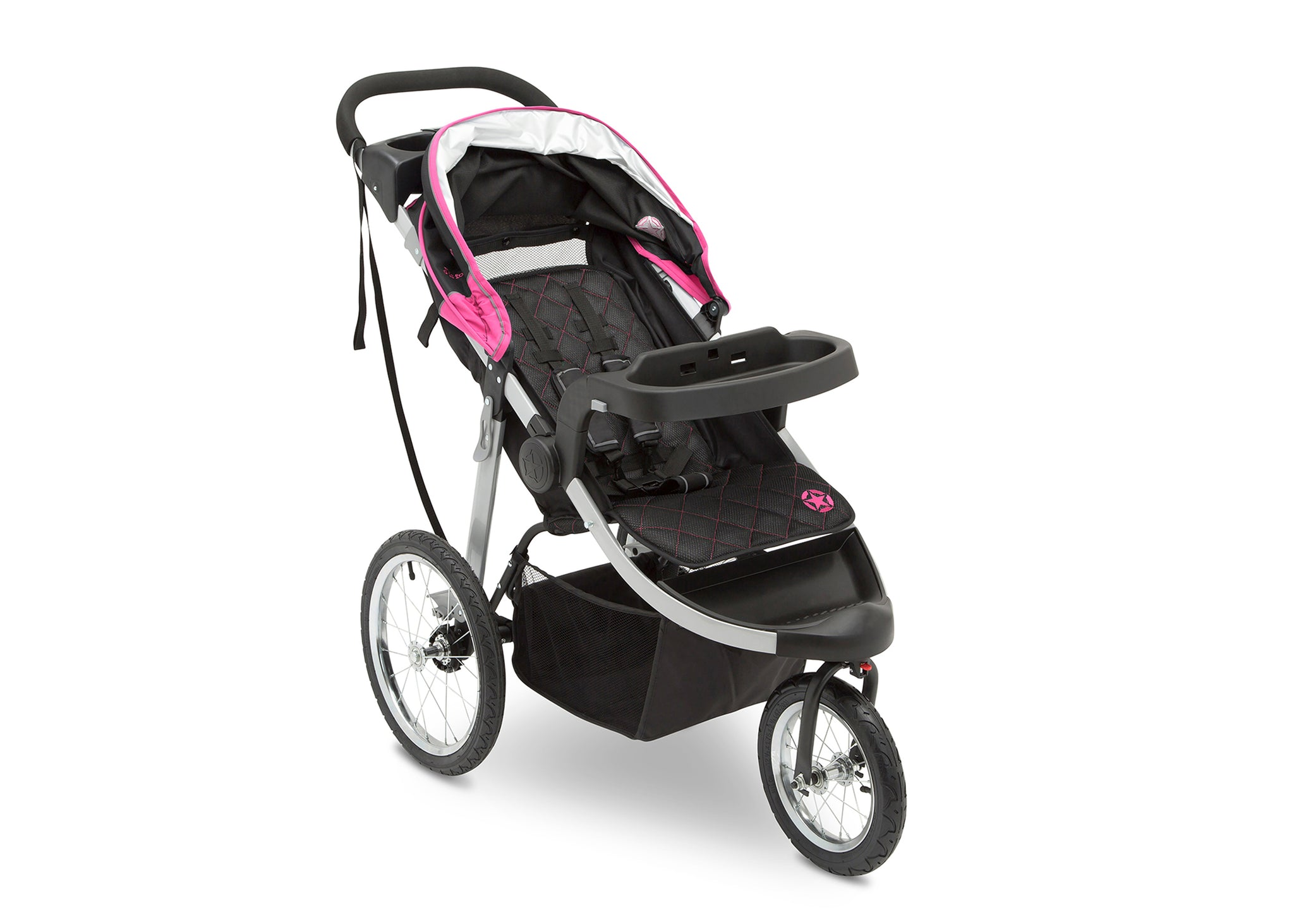 Jeep Unlimited Range Jogger by Delta Children, Trek Pink Tonal (656) with multi-position reclining padded seat