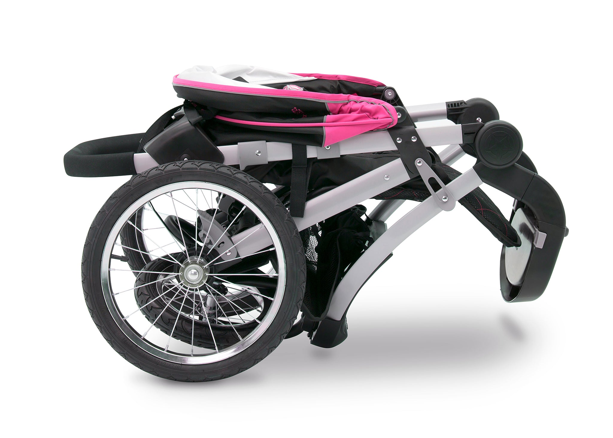 Jeep Unlimited Range Jogger by Delta Children, Trek Pink Tonal (656), can be folded quickly and compactly