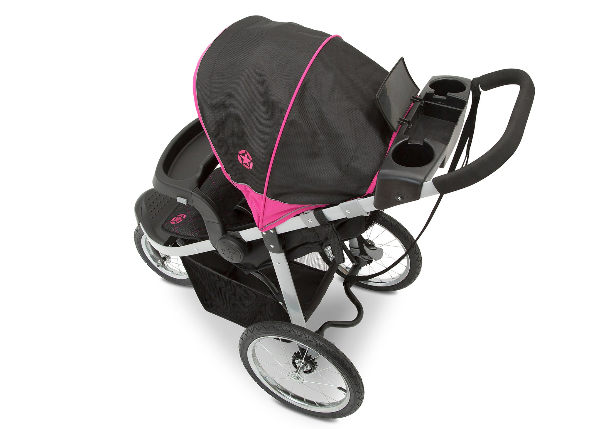 Jeep Unlimited Range Jogger by Delta Children, Trek Pink Tonal (656) with cup holders and smart phone storage