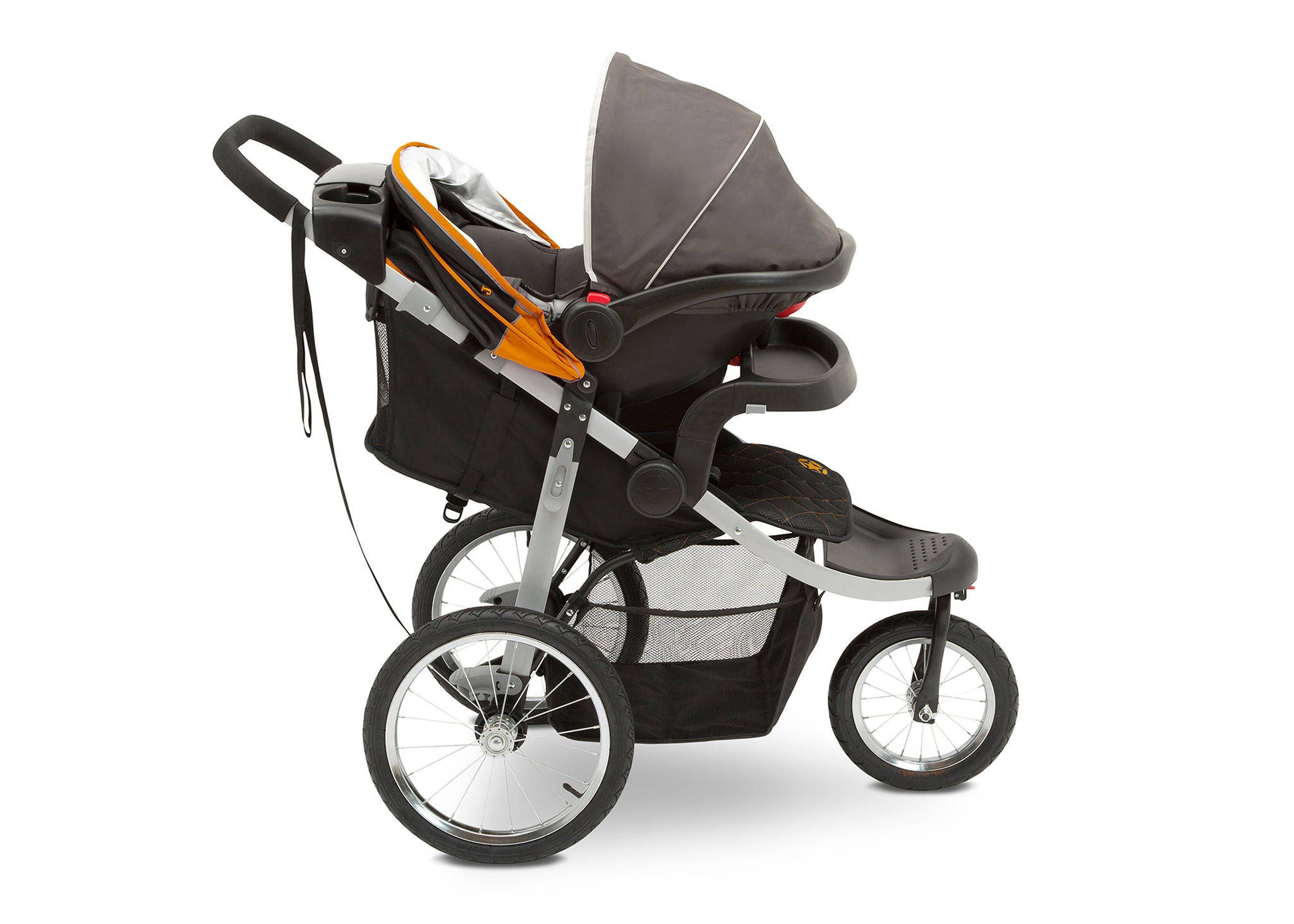 Jeep Unlimited Range Jogger by Delta Children, Trek Orange (835) with extendable European-style canopy