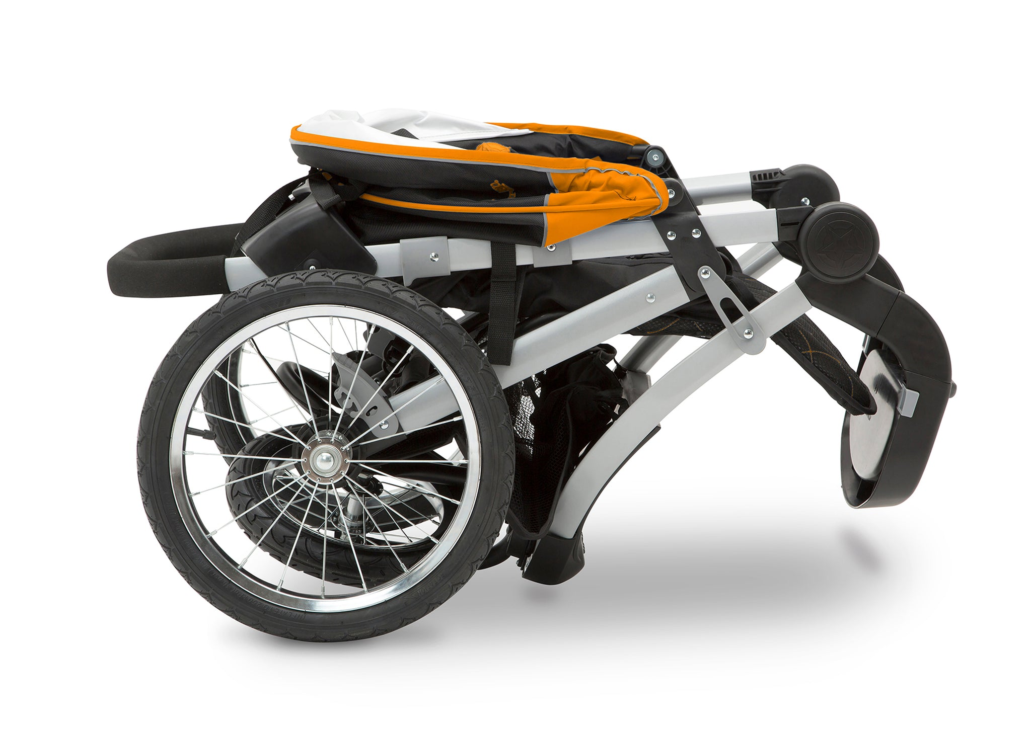 Jeep Unlimited Range Jogger by Delta Children, Trek Orange (835), can be folded quickly and compactly
