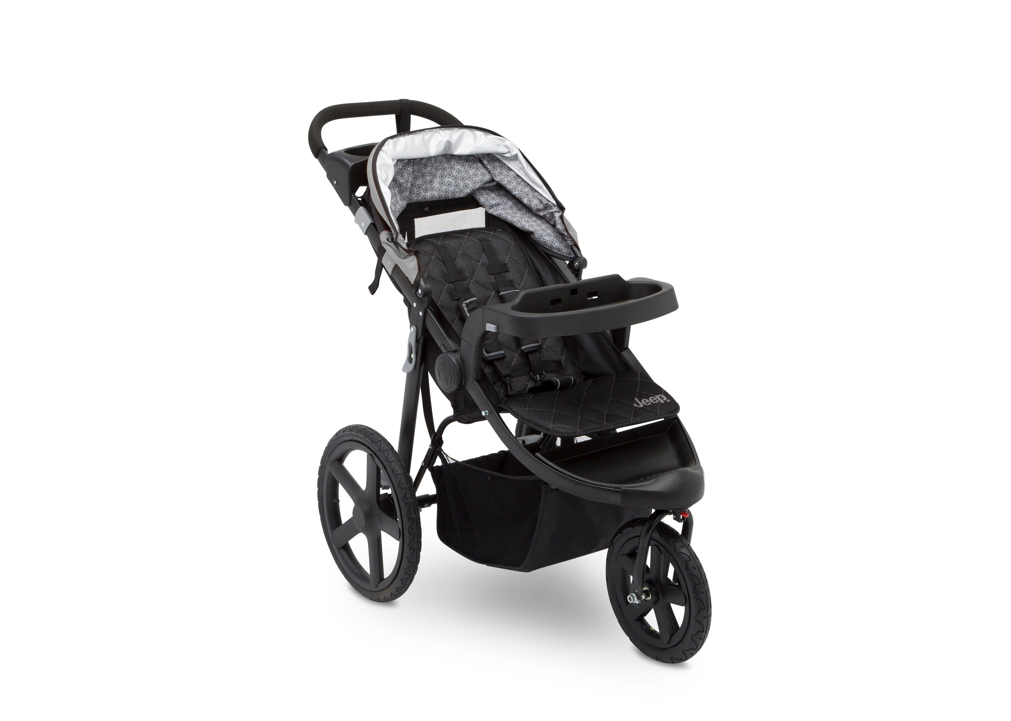 Jeep Adventure All Terrain Jogger Stroller by Delta Children, Charcoal Tracks (0251), with a child tray