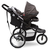Delta Children Charcoal Tracks (0251) Jeep® Deluxe Patriot Open Trails Jogger, Side Silo View with Canopy Down