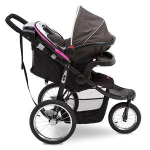 Jeep® Deluxe Patriot Open Trails Jogger by Delta Children, Berry Tracks (678),  car seats with a secure attachment to create your own travel system