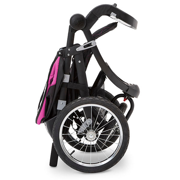 Delta Children Berry Tracks (678) Jeep® Deluxe Patriot Open Trails Jogger, the stroller folds quickly and compactly
