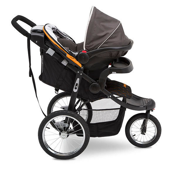 Delta Children Galaxy (850) Jeep® Deluxe Patriot Open Trails Jogger, Side Silo View with Canopy Down