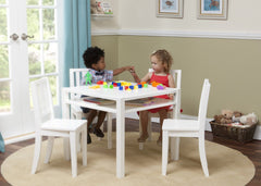 Delta Children White (100) Wood Table and Chair w models b1b