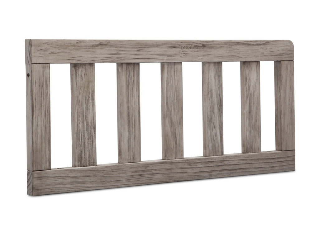 Simmons Kids Rustic White (119) Toddler Guardrail (180129), Angled View b1b for Monterey Crib 'N'More