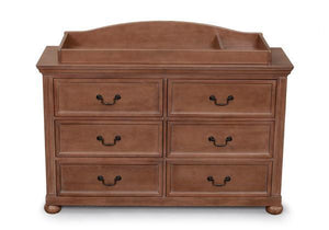 Simmons Kids Antique Walnut (267) Chateau Changing Top atop Chateau Double Dresser a2a