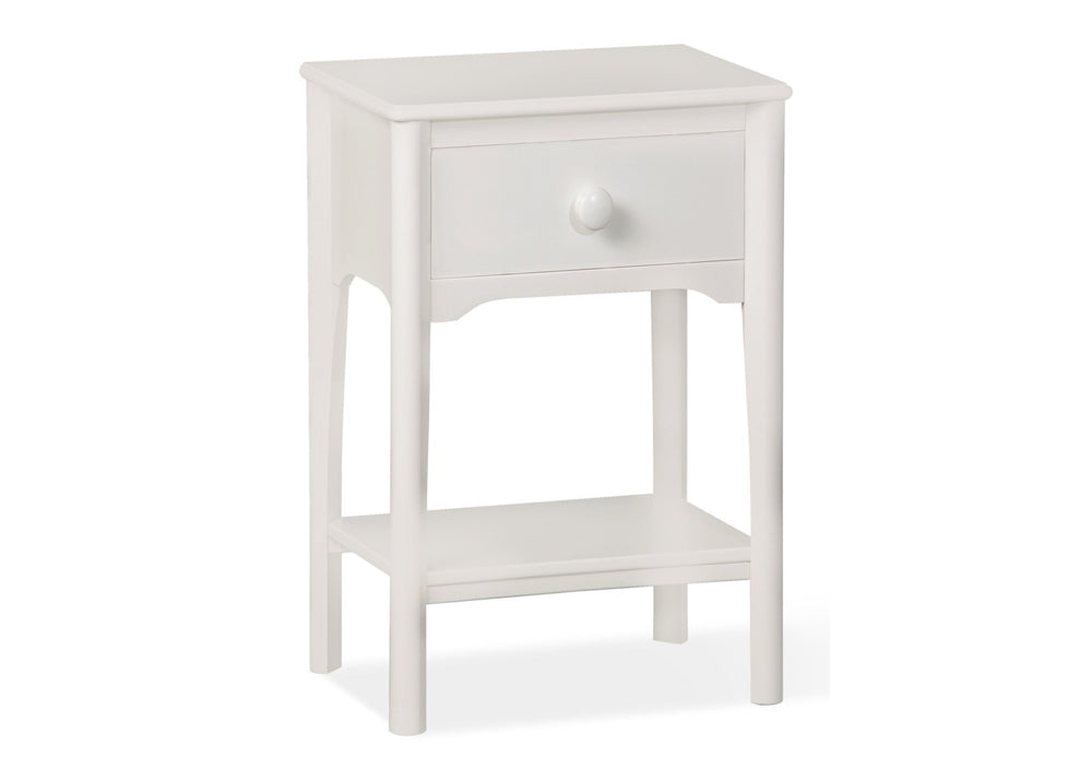 Delta Children White (100) Solutions Nightstand Side View a2a