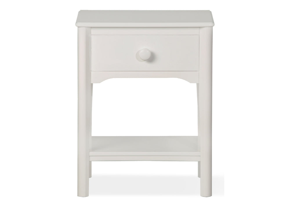 Delta Children White (100) Solutions Nightstand Front View a1a