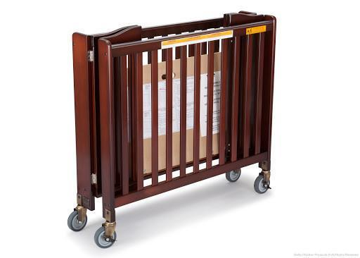Simmons Kids Black Cherry Espresso (607) Foldaway Crib, Folded b2b
