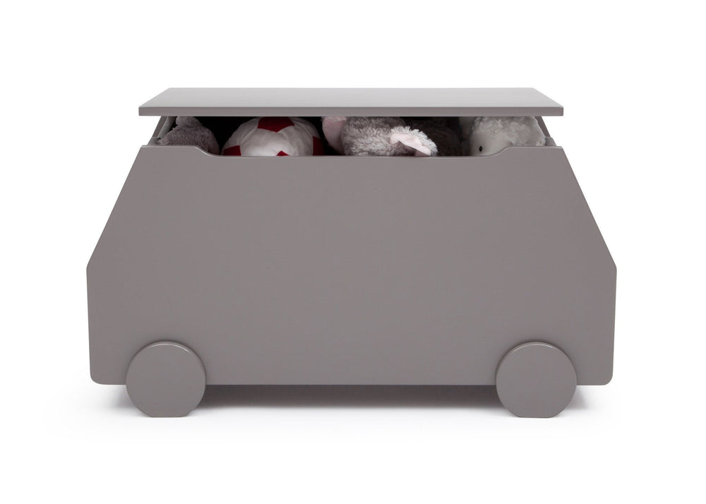Delta Children Classic Grey (028) Metro Toy Box Front View with Props a4a