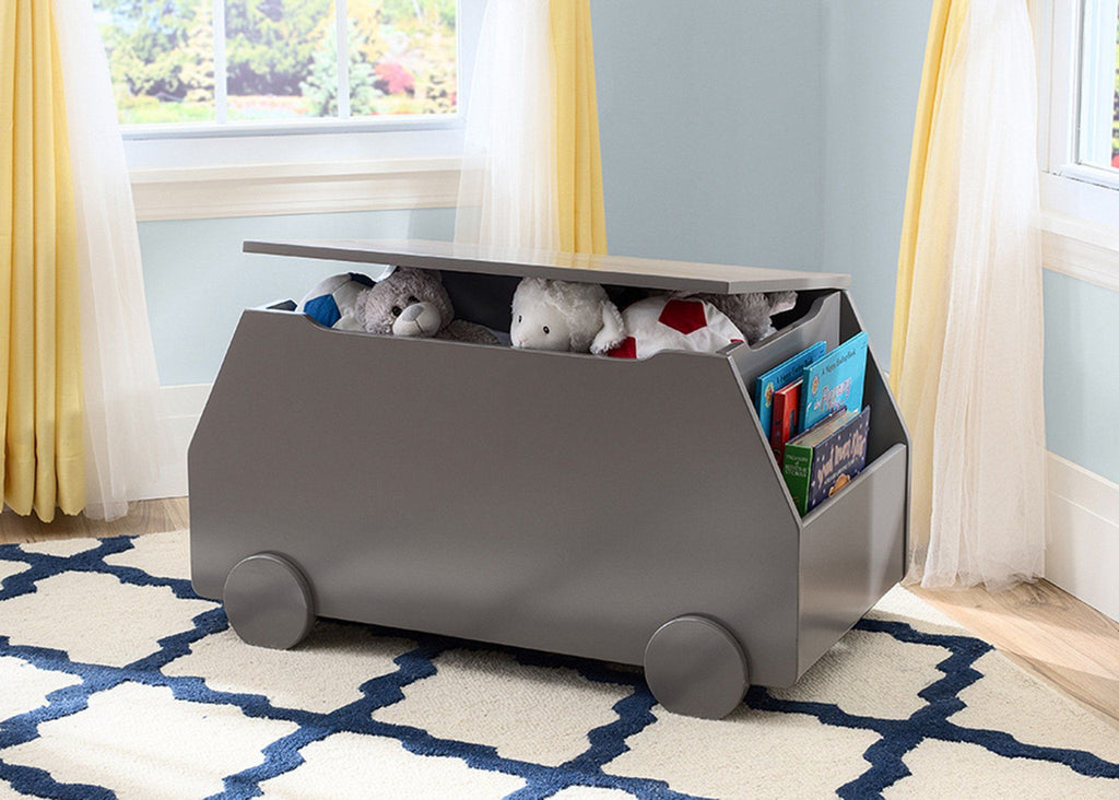 Delta Children Classic Grey (028) Metro Toy Box Nursery View with Props a1a
