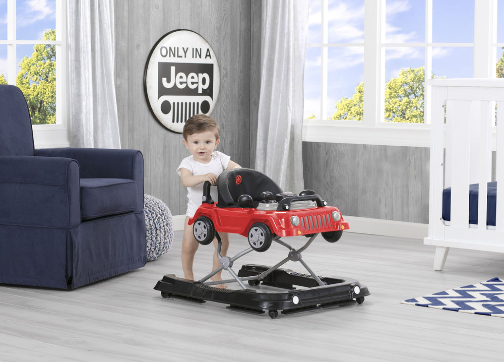J is for Jeep Red (2312) Classic Wrangler 3-in-1 Activity Walker (22408), Hangtag with baby standing, b2b
