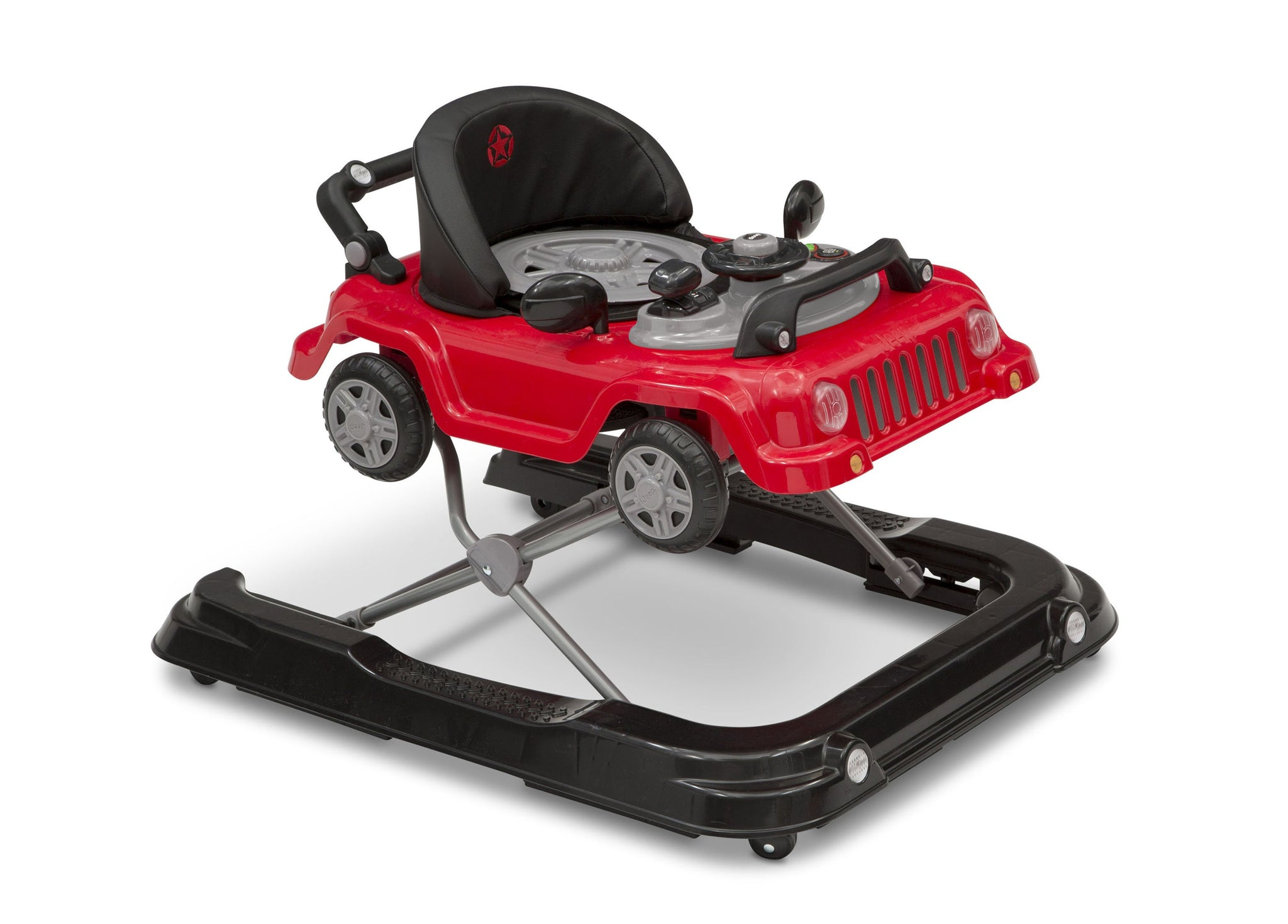 Jeep® Classic Wrangler 3-in-1 Activity Walker Red (2312), Side View with Cover