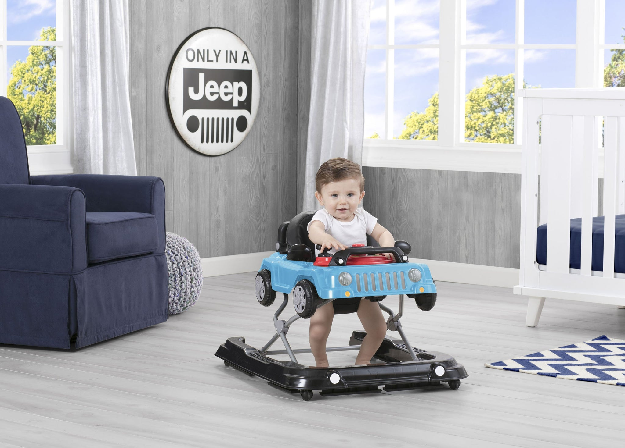 J is for Jeep Blue (2315) Classic Wrangler 3-in-1 Activity Walker (22408), Hangtag with baby, c1c